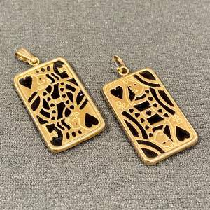 Vintage 14ct Gold and Onyx King and Queen of Hearts Pendants