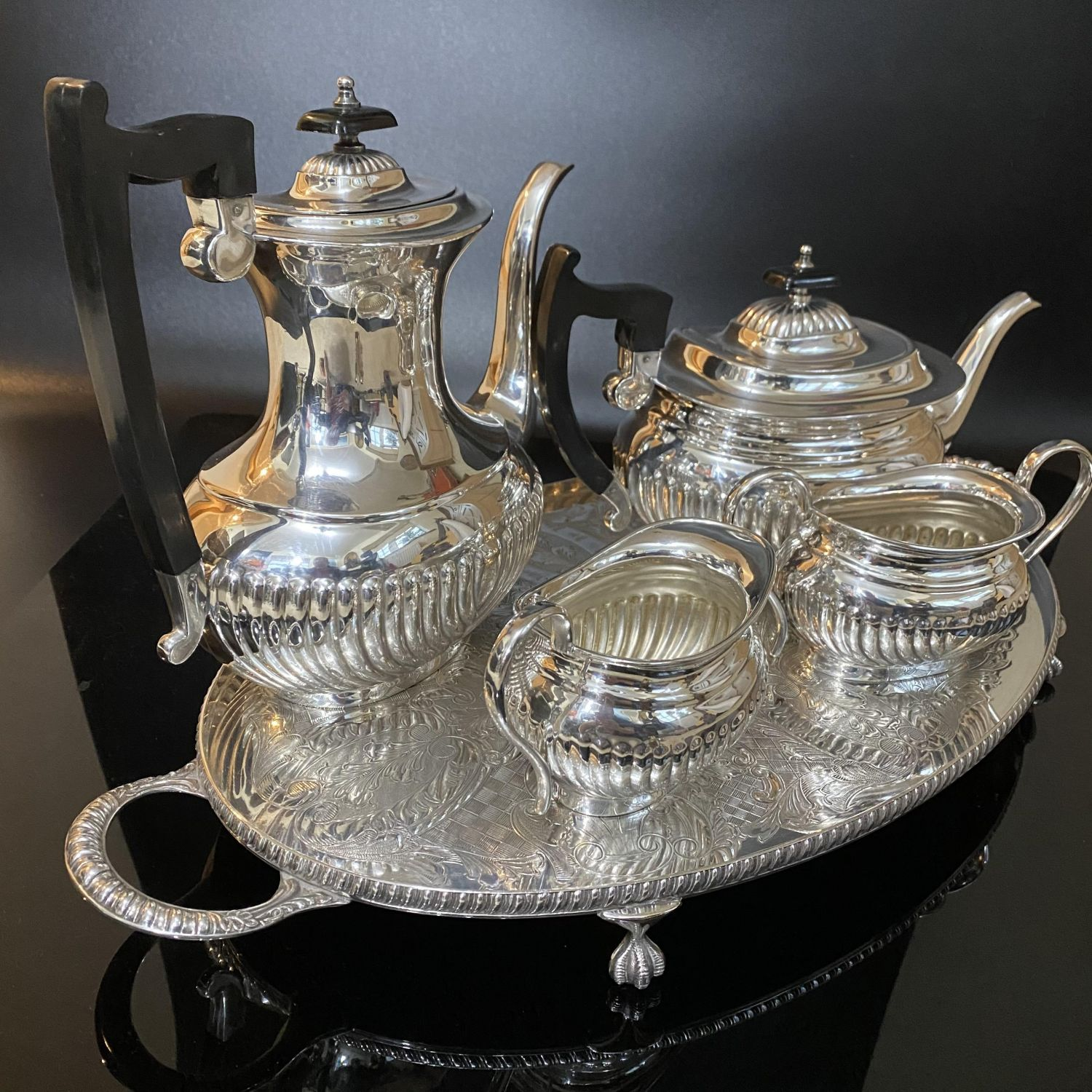 Viners Silver Plated Five Piece Tea And Coffee Service On A Tray Antique Silver Plate Hemswell Antique Centres