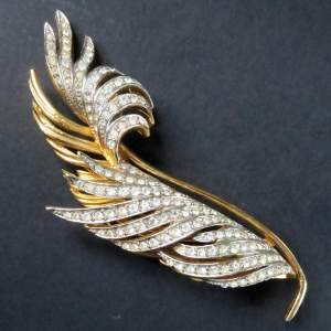 Vintage Signed Givenchy Feather Brooch Pin Costume Jewellery