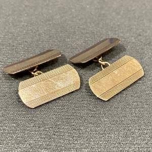 Vintage Pair of 9ct Gold Cufflinks with Engine Turning