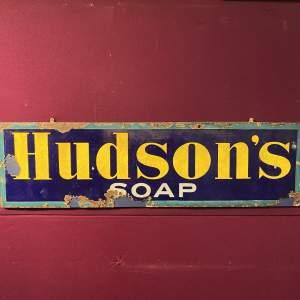 Hudsons Soap Enamel Advertising Sign Circa Mid 19th Century