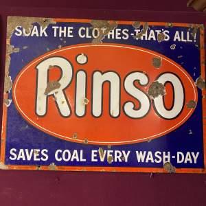 Rinso Steel Enamel Advertising Sign Circa 1910 Edwardian Period