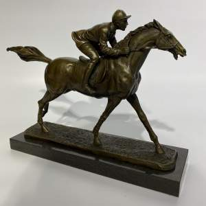 Superb Bronze Sculpture Racehorse and Jockey on Solid Marble Base