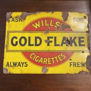 Edwardian Double Sided Wills Gold Flake Enamel Advertising Sign