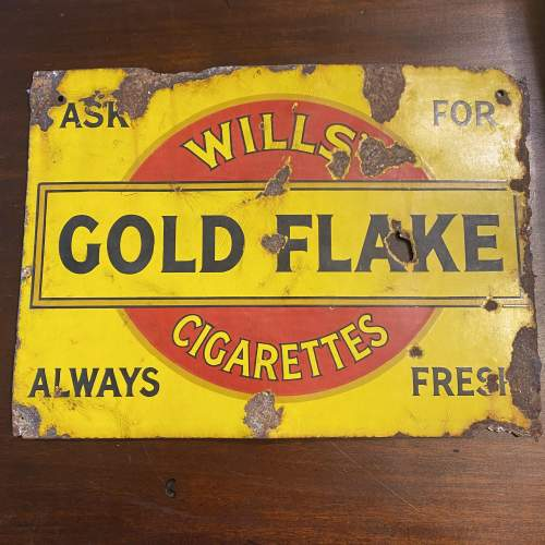 Edwardian Double Sided Wills Gold Flake Enamel Advertising Sign image-2