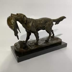 Bronze Sculpture - Retriever Gun Dog with Catch on a Marble Base