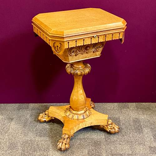 19th Century Birds Eye Maple Sewing Table image-1