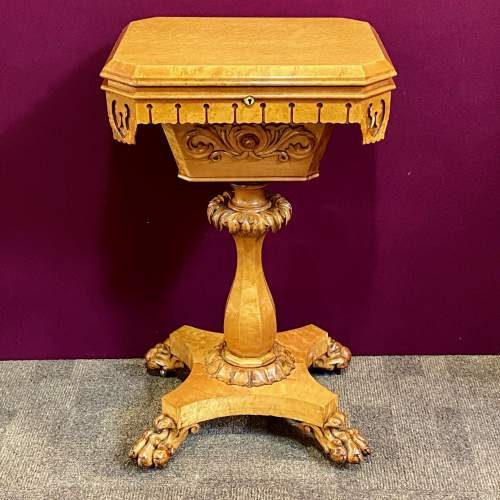 19th Century Birds Eye Maple Sewing Table image-2