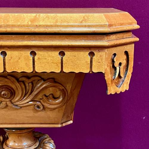 19th Century Birds Eye Maple Sewing Table image-3