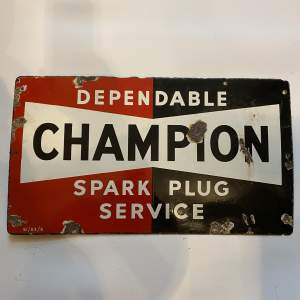 Mid 20th Century Champion Spark Plug Service Steel Enamel Sign