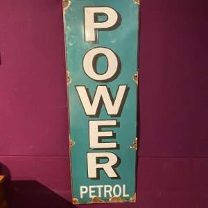 Rare Power Petrol - Power Petroleum Co Advertising Enamel Sign
