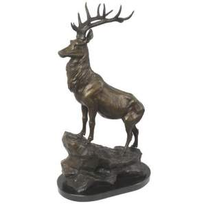 Large Bronze Sculpture Stag Left Facing on a Marble Base