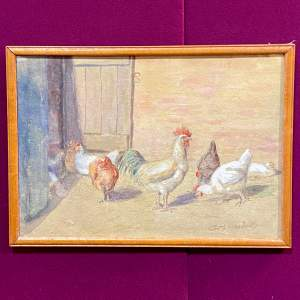Signed Watercolour of Farmyard Chickens and Cockeral