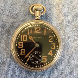 Waltham Black Faced Military Pocket Watch Circa 1940