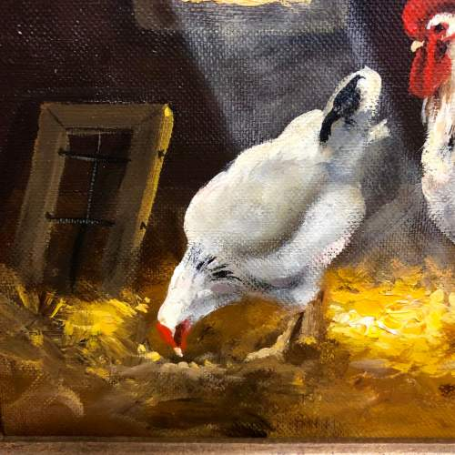 Raymond Saglietto Chickens In Barn Painting image-3