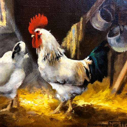 Raymond Saglietto Chickens In Barn Painting image-2