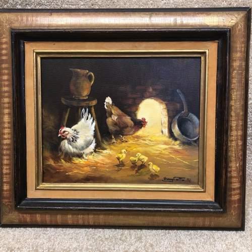 Raymond Saglietto Hen with Chicks Painting image-1