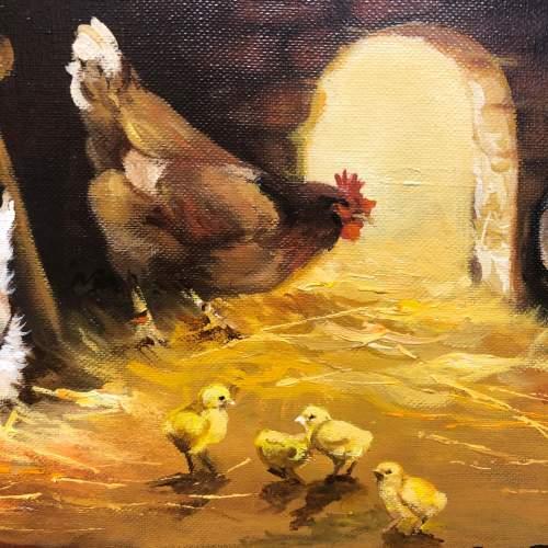 Raymond Saglietto Hen with Chicks Painting image-3