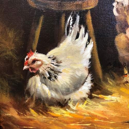 Raymond Saglietto Hen with Chicks Painting image-2