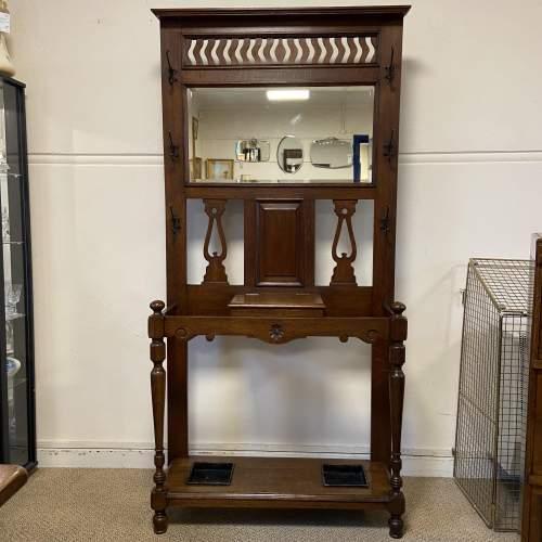 Victorian Oak Mirror Back Hallstand image-1