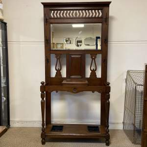 Victorian Oak Mirror Back Hallstand