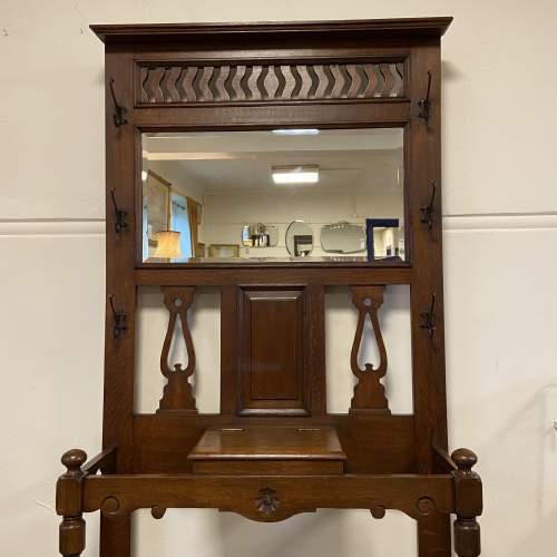Victorian Oak Mirror Back Hallstand image-2