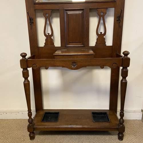 Victorian Oak Mirror Back Hallstand image-3