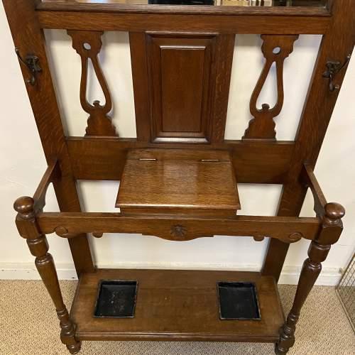 Victorian Oak Mirror Back Hallstand image-4