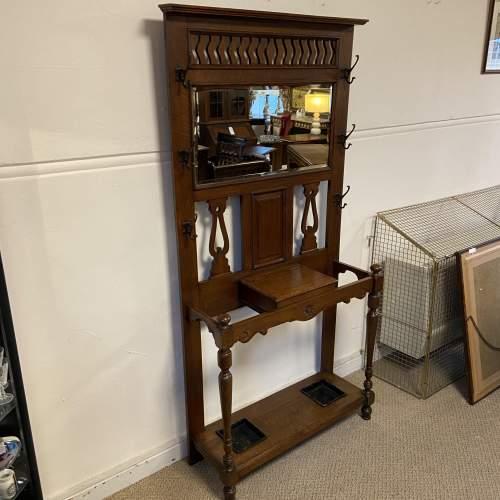 Victorian Oak Mirror Back Hallstand image-5