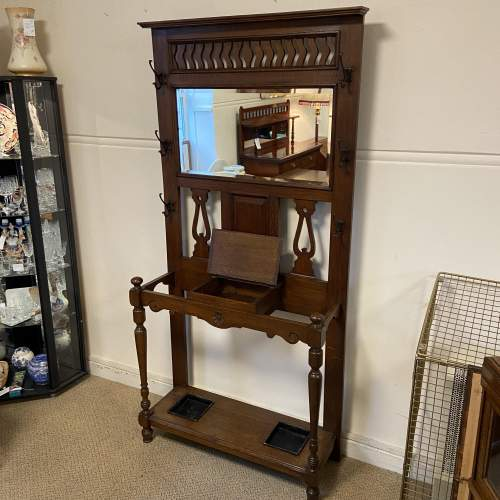 Victorian Oak Mirror Back Hallstand image-6