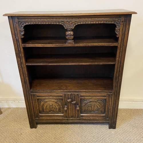 Carved Oak Open Bookcase image-4