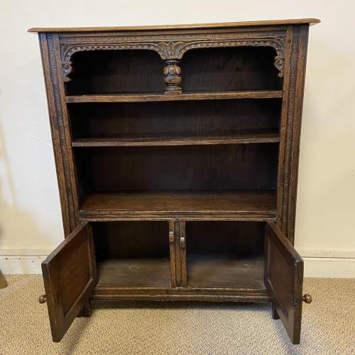 Carved Oak Open Bookcase image-2