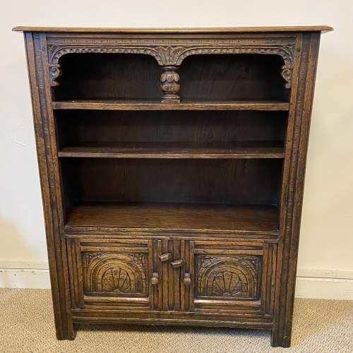 Carved Oak Open Bookcase image-1