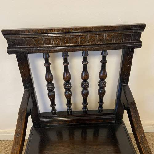 Late Victorian Oak Wainscot Style Armchair image-2