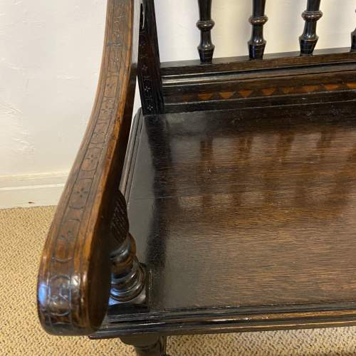 Late Victorian Oak Wainscot Style Armchair image-5