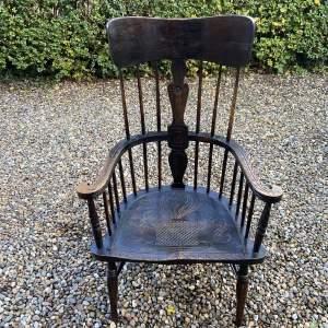 Large Spindle Back Oak Windsor Style Armchair
