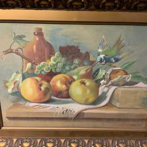 Oil On Canvas Still Life With Signature
