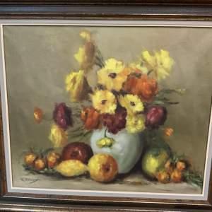 Mid 20th Century Signed Oil On Canvas Still Life