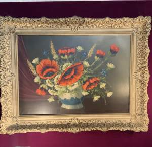 Oil On Canvas Still Life Poppys In A Beautiful Frame