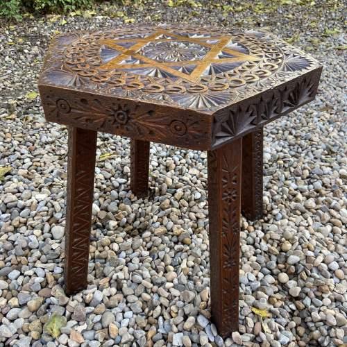 Elaborately Carved Oak Table image-1