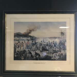 The Capture of Martinique Print 1809 signed David Rowland
