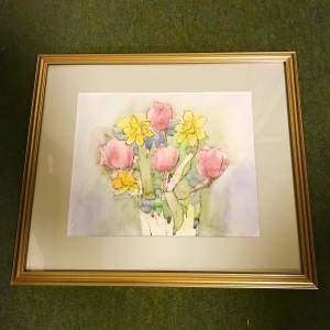 Signed Watercolour of Spring Flowers