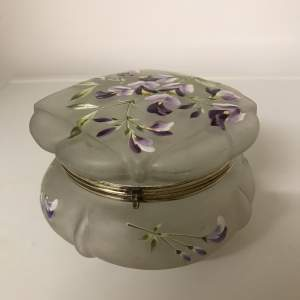 Edwardian Frosted Glass Lidded Bowl decorated with Wisteria