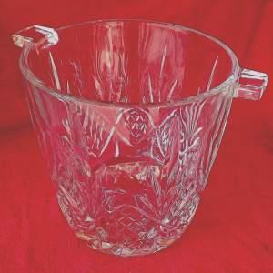 Large Mid Century Heavy Lead Crystal Glass Ice Bucket Wine Cooler