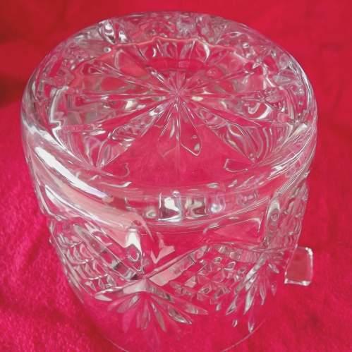 Large Mid Century Heavy Lead Crystal Glass Ice Bucket Wine Cooler image-2