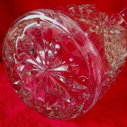 Large Mid Century Heavy Lead Crystal Glass Ice Bucket Wine Cooler image-3