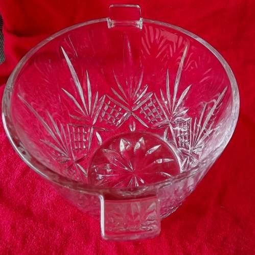 Large Mid Century Heavy Lead Crystal Glass Ice Bucket Wine Cooler image-4