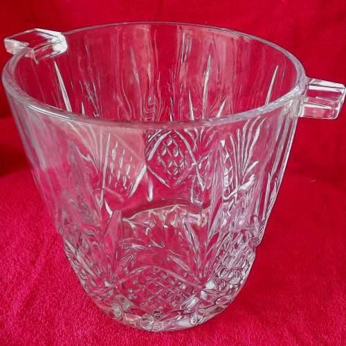 Large Mid Century Heavy Lead Crystal Glass Ice Bucket Wine Cooler image-5