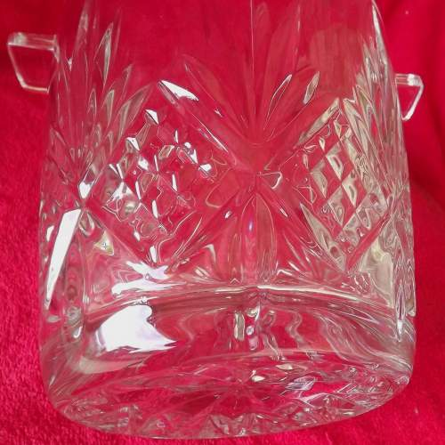 Large Mid Century Heavy Lead Crystal Glass Ice Bucket Wine Cooler image-6