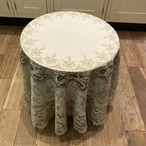 20th Century Round Linen Tablecloth with Madeira Embroidery
